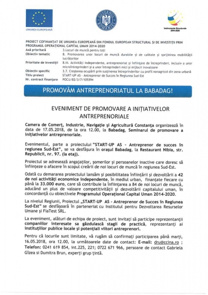 EVENIMENT DE PROMOVARE A INIȚIAȚIVELOR ANTREPRENORIALE